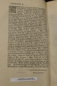 Figure 2. Ogilby, John. Royal Privilege in Homer, His Odysses Translated Adorno with Sculpture and Illustrated with Annotations, 1665, University of Chicago Special Collections Research Center.
