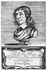 Figure 3: Gaywood, Richard, Title Page, 1651, etching, National Portrait Gallery, London. In The Fables of Æsop, translated by John Ogilby. London: Printed by Thomas Warren for Andrew Crook, 1651. NPG D30175.