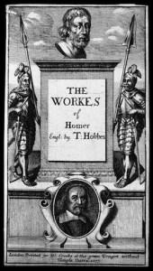 Figure 2: Title Page, 1677, etching and engraving, Wellcome Library, London. In The Works of Homer, trans-lated by Thomas Hobbes. London: Printed by W. Crooke, 1677. Well-come Images V0002800.