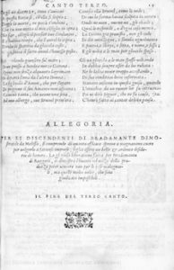 First and last pages of Canto 3 of Giolito's 1554 Orlando Furioso. Click to enlarge.